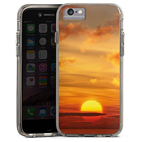 Apple iPhone 7 Bumper Hülle Bumper Case Glitzer Hülle Sonnenuntergang Himmel Wolken Bumper Case transparent grau