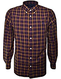 Fred Perry Men's Navy Blue Herringbone Gingham Long Sleeve Shirt