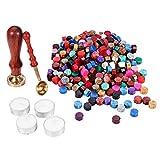 YF Lot de 300 perles de cire octogonales avec 1 tampon, 1 cuillère à fondre et 4 bâtons de cire pour sceller le tampon (30 couleurs)