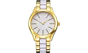Timothy Stone Collection Charme Bicolor- Reloj de Cuarzo para Mujer, Color Oro/Blanco