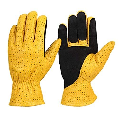 GZSC Befreien Handschuhe Motorradhandschuhe Sommer Leder Echtes Ziegenleder Atmungsaktiv Motocross Motorrad Biker Racing Reiten Moto Handschuhe Herren (Color : Yellow and Black, Size : XL) -