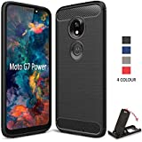 SCL Case for Moto G7 Power Case [Black], Carbon Fibre Effect Gel Grip Protection Cover [Anti Scratch][Anti Collision] Compatible with Motorola G7 Power