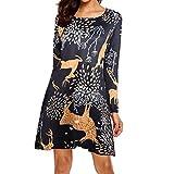 MRULIC Damen Blusenkleid Abendkleid Knielang Kleider Weihnachts Winterrock Festliches Kleid Mehrfarbig Verfügbar Schön Neujahr Herbst und Winter Kleid(B-Gelb,EU-40/CN-XL)