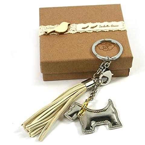 Isabella Grace Argent pour chien Porte-clés Porte-clés Sac Charm avec pompon fabriqué au Royaume-Uni