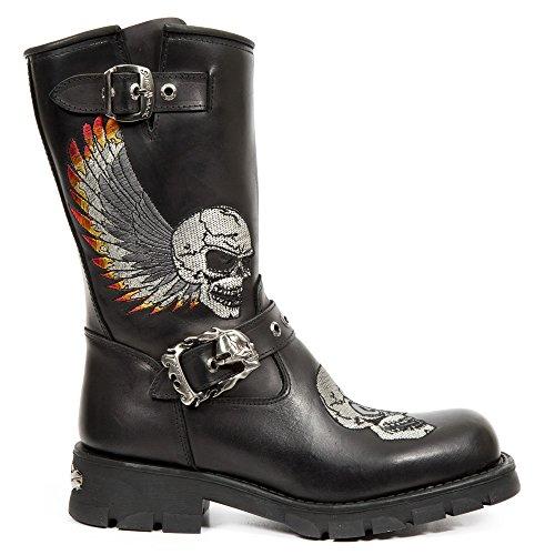 New Rock M.7642-S1 Schwarz Leder Stiefel Black