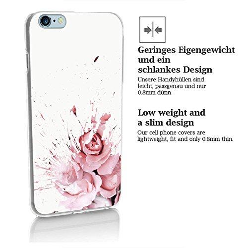 finoo | Iphone 5/5S Hard Case Handy-Hülle Blumen Motiv | dünne stoßfeste Schutz-Cover Tasche mit lizensiertem Muster | Premium Case für Dein Smartphone| Blumen Anker Blumen Fleck 03