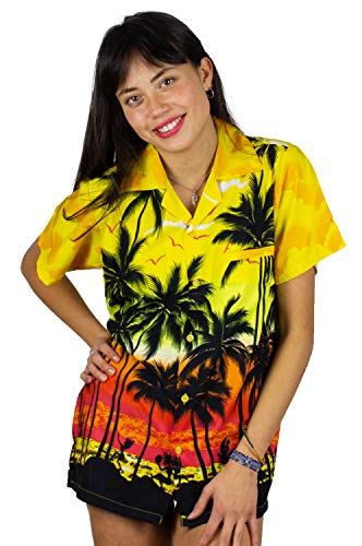 V.H.O. Funky Hawaiibluse, Hawaiihemd, Kurzarm, Beach, Gelb, XXL - Kurzarm-seiden-tunika