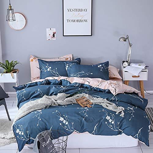 Boqingzhu Bettwäsche 135x200cm Blumen Blümchen Romantisch Blau Rosa Bettbezug Set 2 Teilig Microfaser Wende Bettwäsche Bettdeckenbezug mit Reißverschluss und 80x80cm Kissenbezug