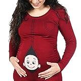 Q.KIM Witzige Umstandsmode Shirt langarm lustiges Shirt wächst mit dem Bauch Stretch Tshirt-Baby, Rot XXXL