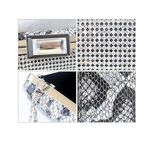 Damen Abendessenbeutel PU-Leder-Handtaschen Neue Mädchen Kleine Tasche Diamant Silver
