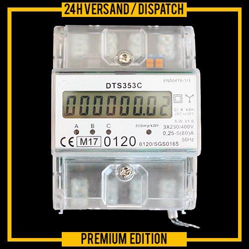 OCS.tec Digitaler MID-Drehstromzähler Stromzähler Starkstrom Zwischenzähler 230/400V kWh DIN-Hutschiene S0-Schnittstelle MID-geeicht ZS5