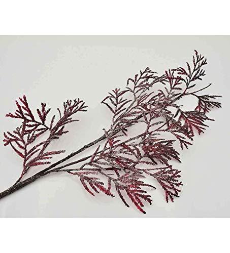 E+N Winter-Zweig Zypressen-Zweig Thuja-Zweig dunkelrot mit Frosteffekt, L: 81cm, Draht/Kunststoff