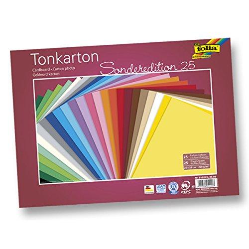 FOLIA Tonkarton 220g/m², mehrfarbig, 25x35cm, 25 Bogen