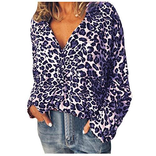 Lazzboy Frauen Arbeiten Leoparden Druck Lange Hülsen Oberseiten Hemd Bluse Um Damen Tiefer V-Ausschnitt Langarmshirt Loose - Freche Banane Kostüm