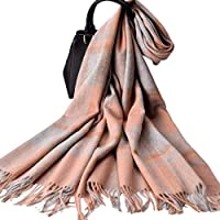 Nwn Cashmere Scarf Ladies Winter Grueso versión Coreana de Wild Thick Plaid Shawl Dual-Use (Color : A)