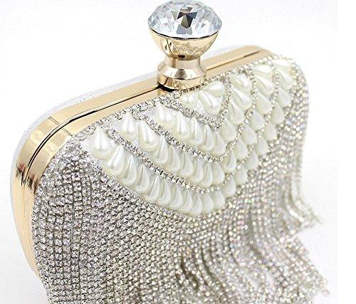 Damen Abendtasche Diamantperle Abendessen Paket High-End-volle Diamant-Handtasche Bankett-Paket Silver