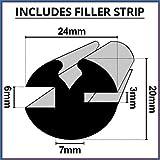Shower Seal UK Duschkopf, mit Claytonrite Gummi-Fenster-Dichtung zur | 6mm x 3mm, mit Streifen, geeignet für Auto, Boot, Wohnwagen und Wohnmobile | cr002