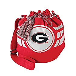 NCAA Georgia Bulldogs Women's Ripple Drawstring Bucket Bag, Light Red, 12