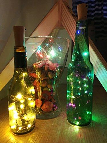 TedGem Flaschenlicht 6 Stück LED Flaschenlichter Lichterketten, Weiß Weinflasche Kork Lichter LED Kupferdraht Lichter String Starry LED Lichter für Flasche DIY, Party, Dekor, Weihnachten, - Halloween-programm Ideen