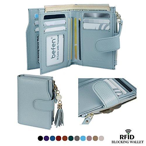 Befen Frauen RFID Blocking Wallet Full Grain Leder Damen Kleine Compact Bifold Leder Geldbörse Front Tasche Mini Wallet Kartenhalter mit 16 Card Slot - Himmel blau (Full-grain-leder-tasche)