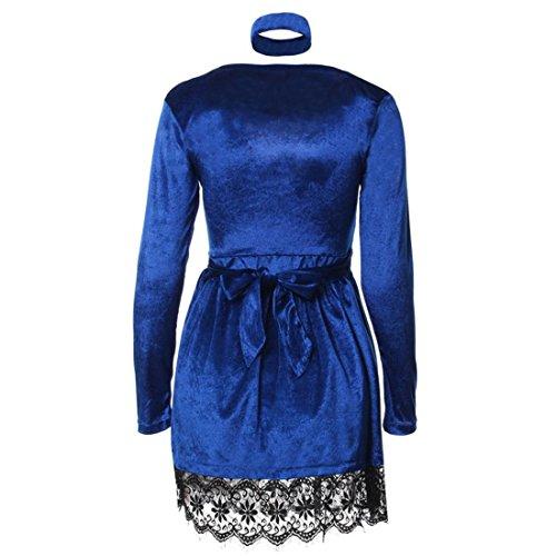 Malloom Frauen-Damen-reizvolles glänzendes Samt-Abend-Kleid Bodycon Partei-Kleidung Blau-B