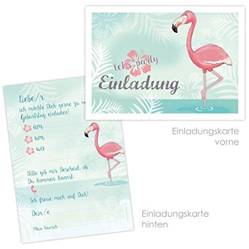 """10 EINLADUNGSKARTEN zum Kindergeburtstag \""""FLAMINGO\"""" / Poolparty, Gartenparty, Cocktailparty, Einladungskarten Flamingo"""