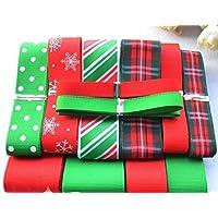 12 cintas en rojas Navidad y multidiseño para patchwork, manualidades, costura, scrapbooking,
