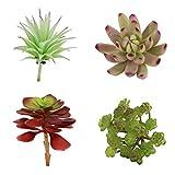 VORCOOL 4 verschiedene Arten von künstlichen Sukkulenten Kleine Kunstpflanz Sukkulenten für Hausgarten Dekoration