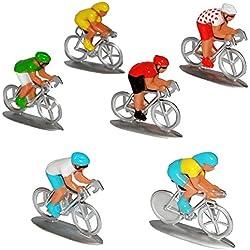 alles-meine.de GmbH 6 tlg. Set: Fahrradfahrer / Rennfahrräder - Fahrrad Fahrer - Maßstab 1/64 - Re..