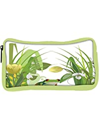 Snoogg Eco Friendly Canvas Abstract Illustration With Lots Of Beautiful Flowers Student Pen Pencil Case Coin Purse...
