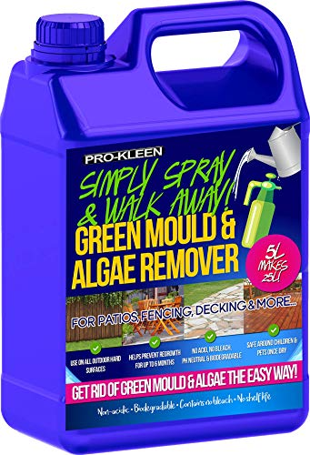 The Pro-Kleen Cleaner Moss, algae & mould Killer that is supplied in a 5-litre container with a PH of 8, to give you can idea, water is usually rated at PH 7 so its slightly more acidic that water but only just. This decking cleaner offers you a convenient way to clean your hard surfaces without using a pressure washer or spending hours scrubbing away with a brush.