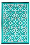 Fab Hab–Santa Cruz– tappeto per interni o esterni, colore bianco/rosso, Cream & Turquoise, 120 x 180 cm