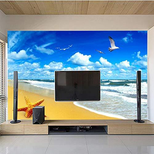 Strandlandschaft Seestern Blauer Himmel 3D-Foto Hintergrund Computer Drucken Wohnzimmer Tv Fotografie Hintergrundbild Tapete
