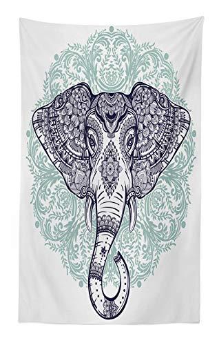 ABAKUHAUS Mandala Elefante Tapiz de Pared y Cubrecama Suave, Estampa Cachemira Floral Étnica Tribal Cabeza de Animal Sagrado Hippie, Resistente a la Suciedad, 140 x 230 cm, Púrpura