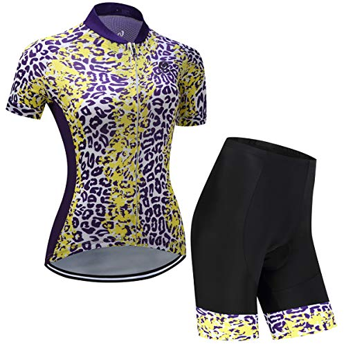 YSYFZ Damen Outdoor Sport Anzüge Jersey Kurzarmtrikot + Radhose Sportbekleidung atmungsak