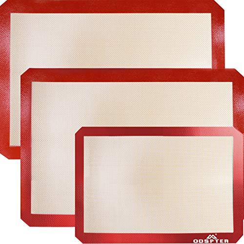 ODSPTER Backmatten Silikon, Silikonmatte Backunterlage Antihaftbeschichtet, BPA-frei, Haltbare Dauerbackfolie - Backfolie - Silikonmatte groß (30 x 42 cm) - Silikonmatte Klein(30 x 21 cm) (3 Stück) Silikon-matte