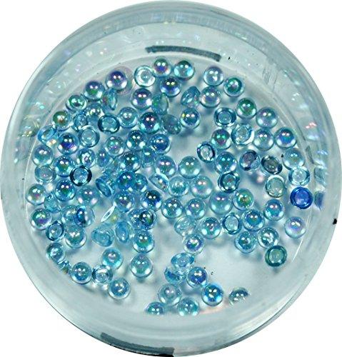 RM Beautynails Demi-perles 1,2 mm Bleu Clair Rond Strass Paillettes env. 50 pièces pour Nail Art et Manucure Design
