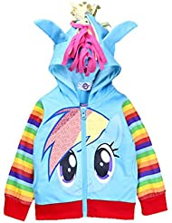 MissFox Cartoon Cosplay Rainbow Dash Mädchens Kostüm Hoodie Sweatshirt