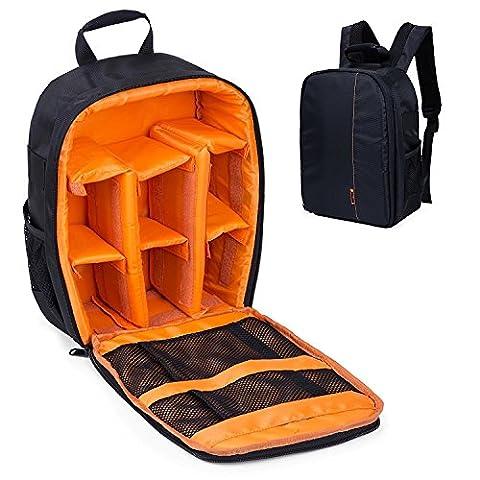 Sac à dos pour appareil photo avec habillage pluie gratuit Sac pour appareil photo reflex numérique Canon EOS et Nikon D7100, D7000, D5300, D5100, D5000, D3200et D3100. - jaune