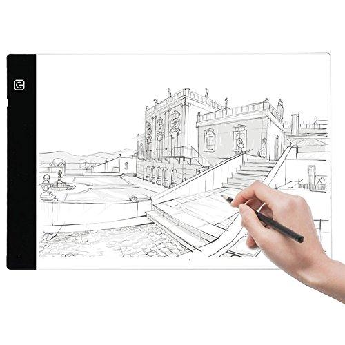 Vamon A4 LED Leuchttisch Zeichnung, LED Leuchttisch Lichtkasten Tragbare Zeichnen Helligkeit dimmbar mit USB Kabel für Malen Künstler Kopieren Zeichnen Skizzieren Animation Schablonieren Designen