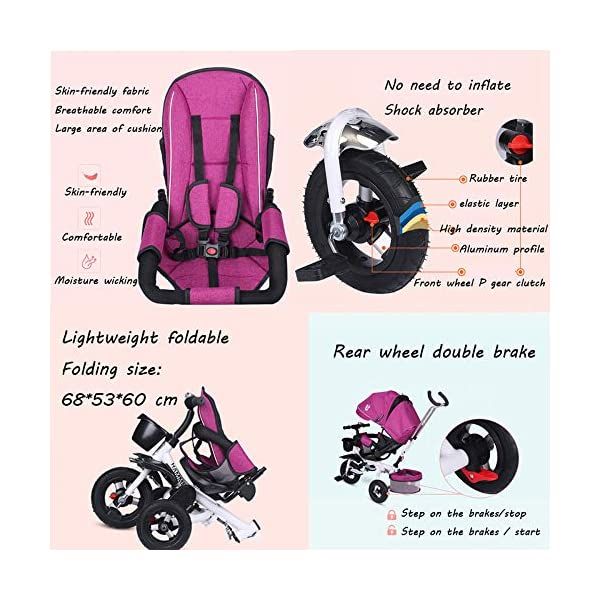 BGHKFF 4 In 1 Childrens Tricycles 8 Months To 6 Years 5-Point Safety Belt 360° Swivelling Saddle Kids' Trikes Adjustable Push Handle Childrens Folding Tricycle Maximum Weight 30 Kg,Gray BGHKFF ★ 4 in 1 multi-function: can be converted into a stroller and a tricycle. Remove the backrest and awning and use the putter as a tricycle. The best choice for 8 months to 6 years. ★ Tricycle foldable, space saving, easy to carry, is the best travel companion; adjustable push rod, push rod is directly connected to the tricycle handlebar through the steering link, parents can use the push rod to control the direction. ★ Rear wheel double brakes, 2 foldable footrests, non-slip handles and pedals, bells, 2 baskets, safe and comfortable driving experience. 5-point seat belt 7