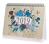 Calendrier de bureau 2019 mensuel, quotidien, hebdomadaire mensuel mensuel annuel Agenda du calendrier scolaire pour le bureau scolaire, s'étend de janvier 2019 à décembre 2019 - Oiseaux et fleurs