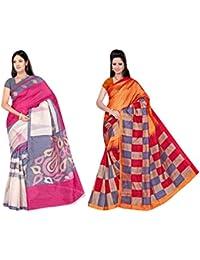 Winza Designer Womens Bhagalpuri Printed Cotton Silk Ethnic Wear With Blouse Saree