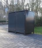 2 Mülltonnenboxen ohne Stanzung für 120 Liter Mülltonnen / komplett Anthrazit RAL 7016 / witterungsbeständig durch Pulverbeschichtung / mit Klappdeckel und Fronttür