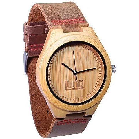 Luno desgaste hombres de madera reloj, piel auténtica, la brotes