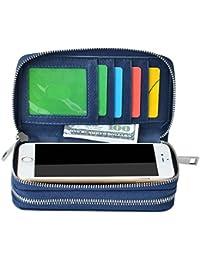 bangbo Premium piel sintética cremallera doble cartera bolso monedero Tarjeta Caso dinero organizador soporte para teléfono para teléfono celular iPhone 7/7Plus/se/6S/6Plus/5S y Samsung Galaxy S8/8Plus/S7/S6 azul