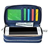 BANGBO Premium PU Leather Double ZipperWallet Handbag Purse Card Case Money Organizer Phone Holder for Cell Phone IPhone 7/7 Plus/SE/6S/6 Plus/5S and Samsung Galaxy S8/8 Plus/S7/S6, Blue
