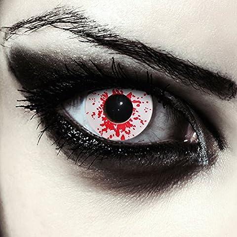 """Lentilles de couleur blanc sanglant sans correction pour halloween zombi costume ou Cosplay + Récipient gratuit - """"Blood Splash"""""""