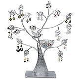 VENKON - Design Schmuckbaum Ohrringhalter Schmuck Organizer Schmuckständer Ringhalter - Farbe: Silber - 43 x 38cm
