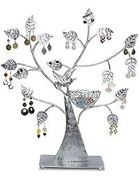 Grinscard - Sostenedor del pendiente del árbol de la joyería del diseño Sostenedor del anillo del soporte de la joyería del organizador de la joyería - Color: Plata - 43 x 38cm